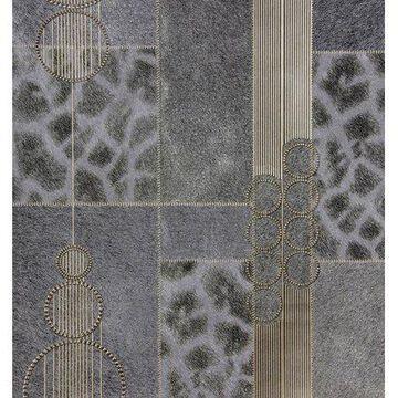 Brewster Serengeti Grey Patchwork Wallpaper