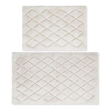 Vera Wang Marquis Diamond Bath Rug Set in Pastel Grey