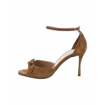 Leather Bow Accents Slingback Sandals Brown