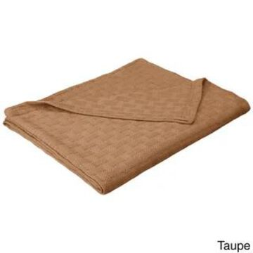 Superior All-Season Luxurious 100-percent Cotton Basket Weave Blanket (Queen - Taupe)
