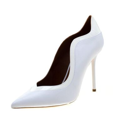 Malone Souliers By Roy Luwolt Optic White Leather Penelope Pointed Toe Pumps Size 40
