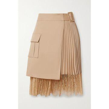Self-Portrait - Lace-paneled Pleated Crepe De Chine And Cotton-canvas Wrap Mini Skirt - Beige