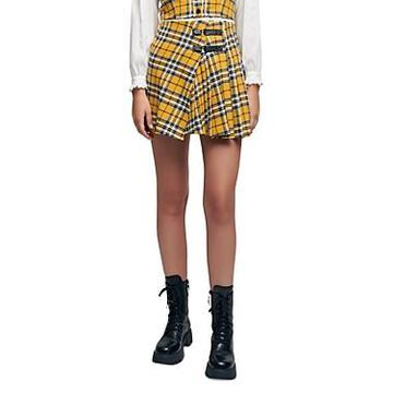 Maje Kilt Style Pleated Check Mini Skirt