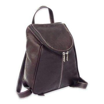 Piel Leather U-Zip Backpack in Chocolate