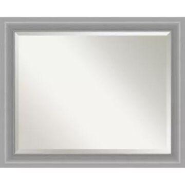 """Amanti Art 33"""" X 27"""" Polished Nickel Framed Wall Mirror In Silver"""