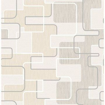 Brewster Geometric Khaki Balise Wallpaper