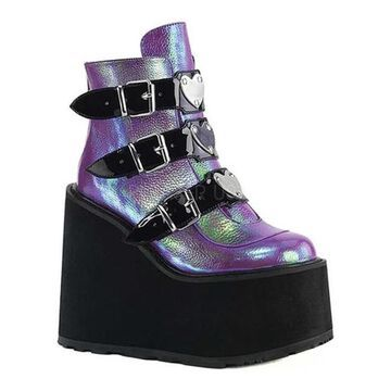Demonia Women's Swing 105 Ankle Bootie Purple Iridescent Vegan Leather