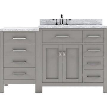 Virtu USA Caroline Parkway 57-in Cashmere Gray Undermount Single Sink Bathroom Vanity with Italian Carrara White Marble Top