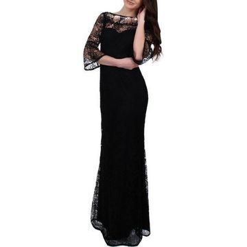 Aidan Mattox Womens Lace Beaded Evening Dress