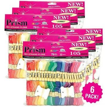 DMC Prism 6-Strand Floss Jumbo Pack 8.7yd 105 count, Multipack of 6