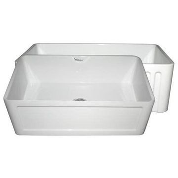 Whitehaus WHFLCON3018 Concave or Fluted Reversible Fireclay Farm Apron Sink