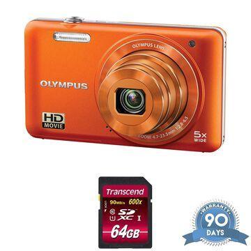 Olympus VG-160 Digital Camera (Orange) - with Memory Card -