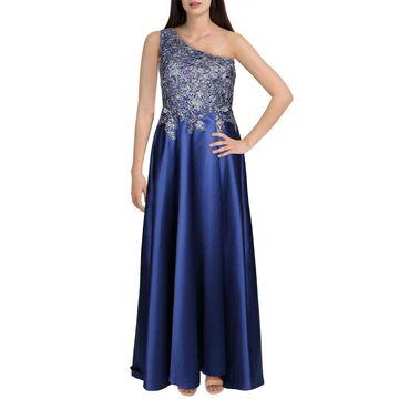 Xscape Womens Petites Formal Dress Metallic A-Line - Blue