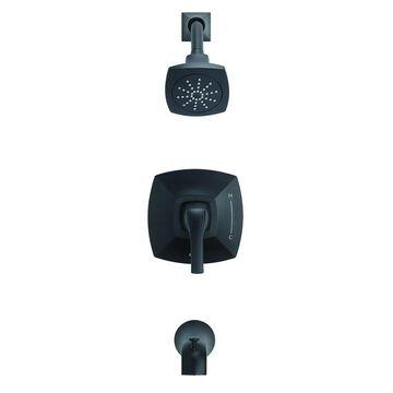Danze Vaughn 1H Tub & Shower Trim Kit & Treysta Cartridge 1.75 GPM D501018BSTC Satin Black