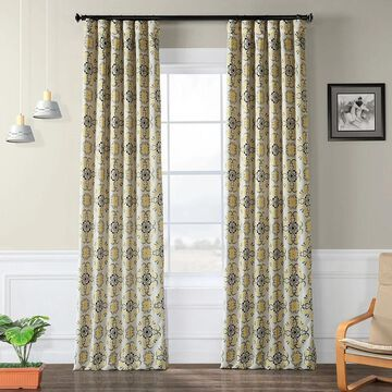 Exclusive Fabrics Soliel Yellow/ Grey Damask Blackout Curtain Panel Pair