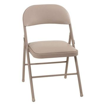 Cosco Vinyl Folding Chair (4-Pack), Antique Linen