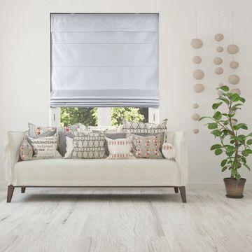 Arlo Blinds Silk Gray Light Filtering Cordless Lift Fabric Roman Shades