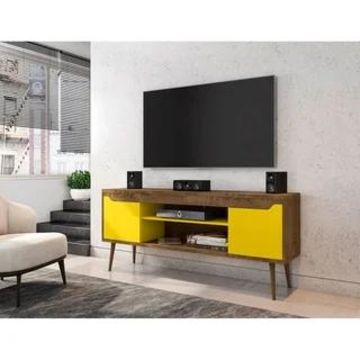 Bradley 62.99 TV Stand with 2 Media Shelves and 2 Storage Shelves by Manhattan Comfort (Rustic Brown and Yellow)