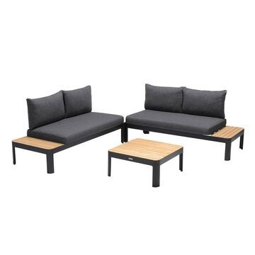 3pc Portals Outdoor Sofa Set in Finish with Natural Teak Wood Top Accent - Armen Living