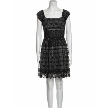 Lace Pattern Mini Dress Black