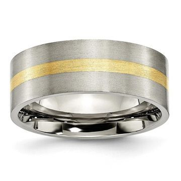 Chisel Titanium Brushed Flat 14 Karat Yellow Gold Inlay 8mm Wedding Band (11.5)