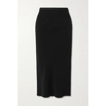 Rick Owens - Gonna Asymmetric Ribbed Cotton Blend-trimmed Jersey Skirt - Black