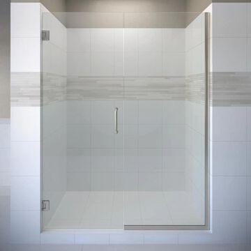 Basco Celesta 76-in H x 46-1/16-in to 47-in W Frameless Pivot Brushed Nickel Shower Door (Clear Glass) in Gray | CELA-935-47-76XPBN