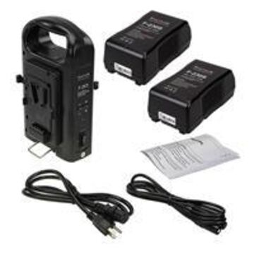 Fotodiox Dual Position Battery Charger Kit with Two 14.8V 230Wh Li-Ion V-Mount Batteries