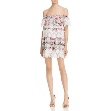 For Love & Lemons Womens Candence Off-The-Shoulder Lace Mini Dress