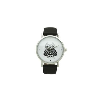 Olivia Pratt Owl Womens Black Leather Strap Watch-A917349black