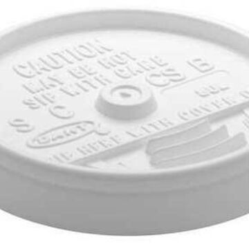 DART 8UL Lid for 8 oz. Hot/Cold Cup, Flat, Sip Through, White, Pk1000