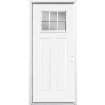 Masonite 32-in x 80-in Steel Craftsman Left-Hand Inswing Primed Prehung Single Front Door with Brickmould in White   741112