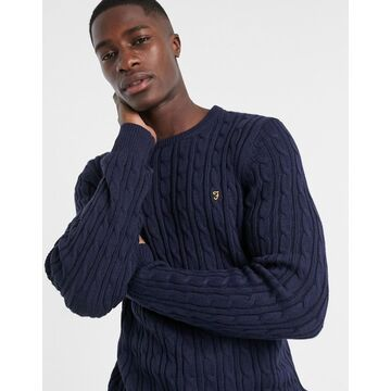 Farah Ludwig cotton cable crewneck sweater in navy Exclusive at ASOS