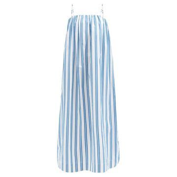 Ganni - Square-neck Striped Organic-cotton Midi Dress - Womens - Blue White