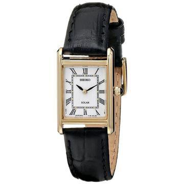 Seiko Women's SUP250 'Solar' Black Leather Watch