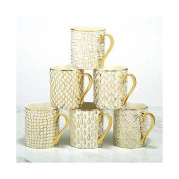 Certified International Mosaic 6-Pc. Gold Plated Mugs