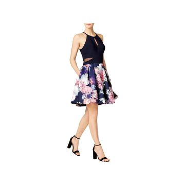 Xscape Womens Party Dress Floral Illusion