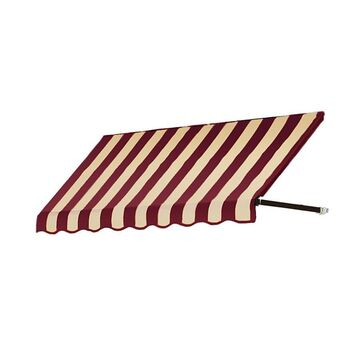 Awntech Dallas Retro 76.5-in Wide x 36-in Projection Burgundy/Tan Striped Striped Open Slope Window/Door Fixed Awning in Red