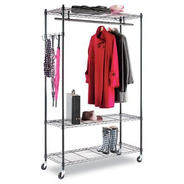 Alera Black Steel Wire Shelving Garment Rack