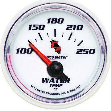 AutoMeter 7137 C2 Electric Water Temperature Gauge; 2-1/16 in.; White Dial Face; Fluorescent Red Pointer; Blue LED Lighting; Electric Air-Core; 100-250 Degree F;