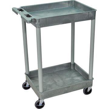 Luxor Tub Cart - 2-Shelf, Gray, 400-Lb. Capacity, Model STC11-G