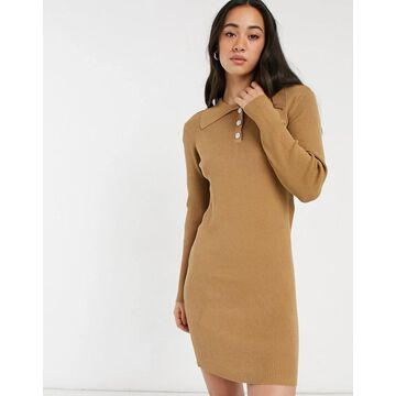 Vila knitted polo dress with button detail in tan-Beige