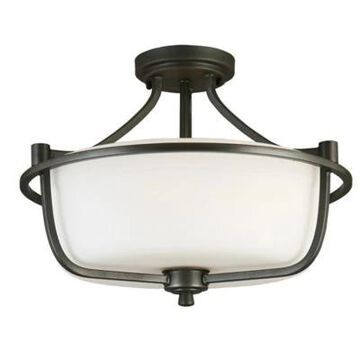 EGLO Mayview 3-Light Semi Flush Mount Ceiling Fixture in Graphite with Glass Shade