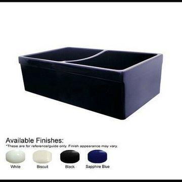 Whitehaus Quatro Alcove Reversible Double Bowl Fireclay Sink - White NEW