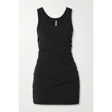 Alexander Wang - Ruched Stretch-shell Mini Dress - Black
