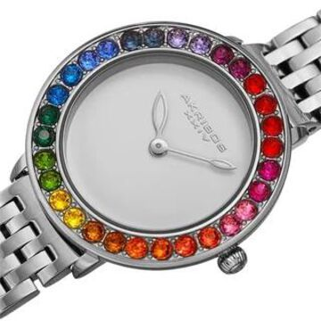 Akribos XXIV Women's Quartz Multicolor Swarovski 50M Stainless Steel Link Watch (Silver)