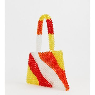 Glamorous Exclusive stripe beaded mini grab bag-Multi