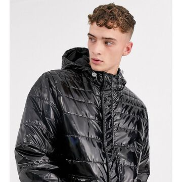 Reclaimed Vintage shiny puffer mac in black