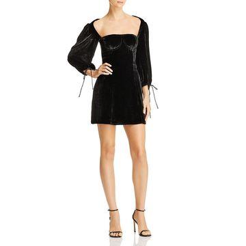 For Love & Lemons Womens Nadine Velvet Open Back Party Dress