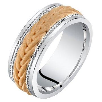 Mens Rose-Tone Sterling Silver Roped Pattern Comfort Fit Sizes 8-14